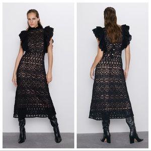 NWT. Zara Black Textured Ruffled Midi Dress Size S